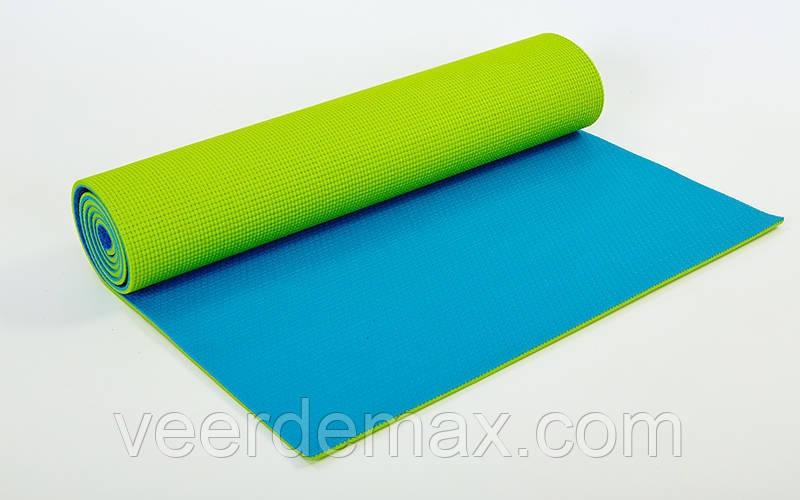 Двухслойный коврик для фитнеса и йоги Yoga Mat. 2-х слойный  6mm ( 1.73*0.61*6mm) салатовый-голубой