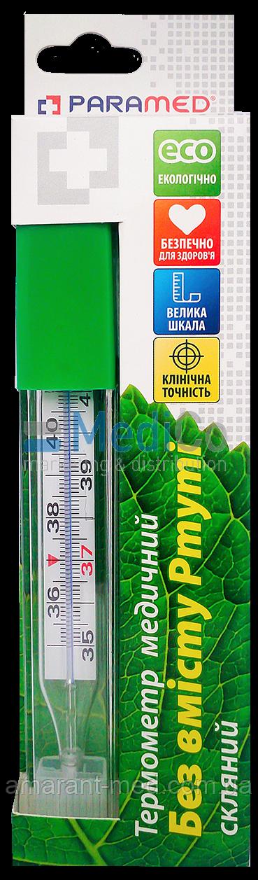 Термометр медицинский PARAMED, безртутный, стеклянный