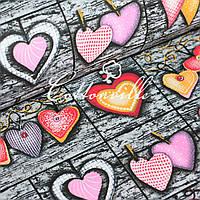 Хлопковая ткань Сердечки на доске