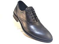 Туфли мужские кожаные классические оксфорды брог черные Rosso Avangard FeliceteZo Black Pelle подошва моноблок