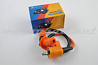 "Котушка запалювання (тюнінг) 4T GY6 50-150, Honda DIO ""SENDFLY"" (помаранчева, +насвечник)"