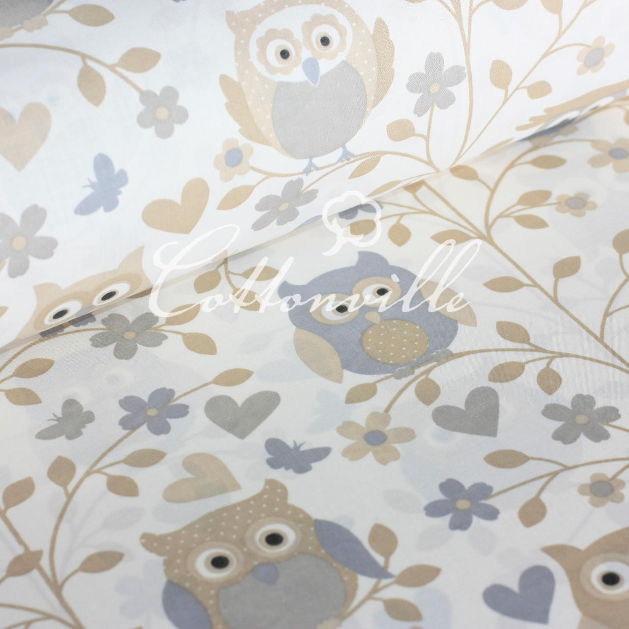 Хлопковая ткань Совы пастель