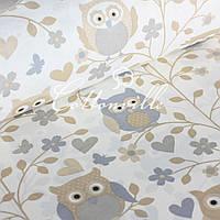 Хлопковая ткань Совы пастель, фото 1