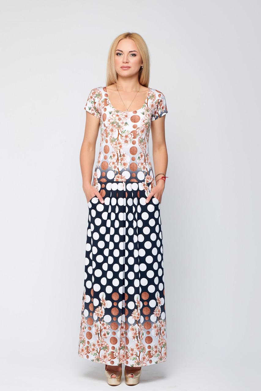 8e5922371c9 Летнее длинное платье с карманами Дакота горох - DS Moda - женская одежда  оптом от производителя