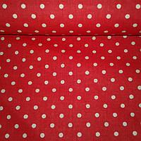 Ткань с мелким белым горошком 3 мм на красном фоне, ширина 160 см, фото 1