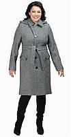 Пальто со сьемным капюшоном серое 48 весна/осень