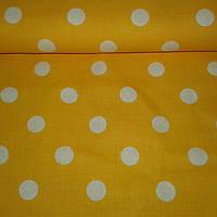 Ткань с белыми горохами 1 см на желто-оранжевом фоне, фото 1