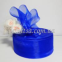 Лента из органзы , 4 см, цвет синий