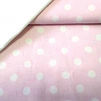 Ткань с белыми горохами 1 см на розовом фоне, фото 1