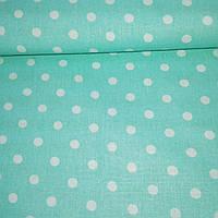 Ткань с белыми горошками 7 мм на мятном фоне, фото 1