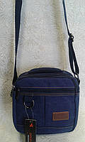 Сумка мужская прочная из брезентовой ткани синяя