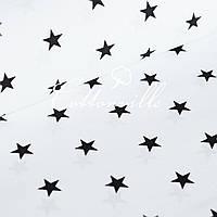 Польская бязь Черные звездочки (20 мм) ТОВАР НЕДЕЛИ