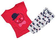 Пижама летняя для девочки Китти, футболка с бриджами, хлопок, р.р.34-40