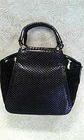 Женская сумка черная лаковая стильная