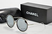 Солнцезащитные очки круглые Chanel зеркальные