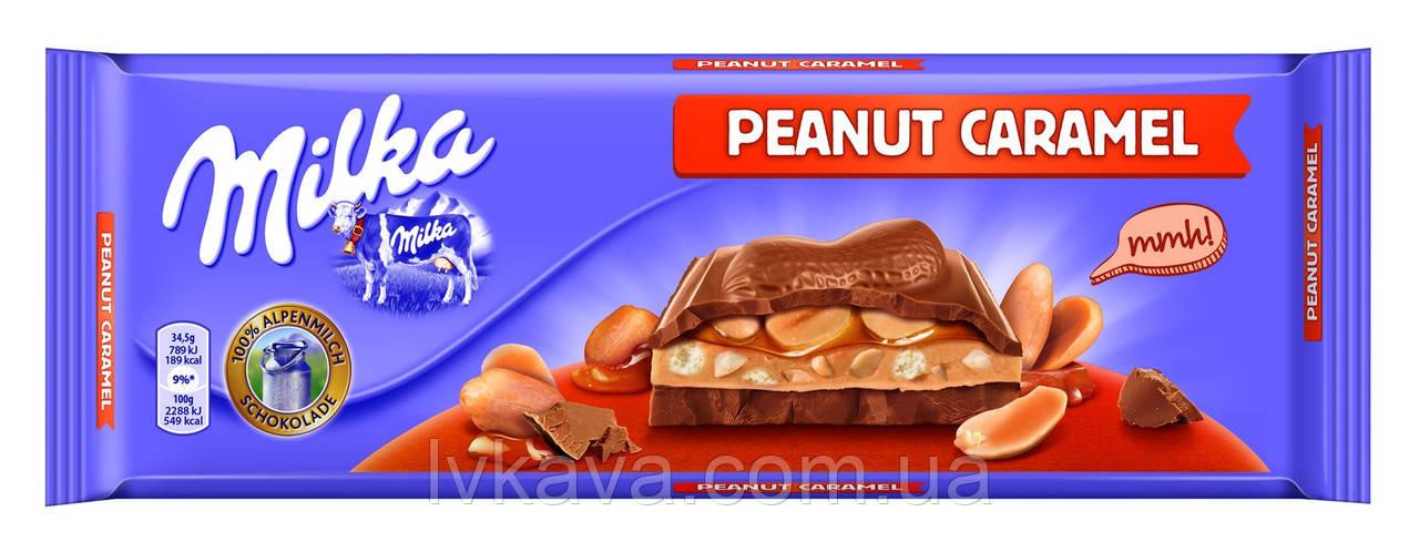 Молочный шоколад Milka Peanut Caramel , 276 гр