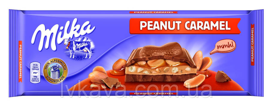 Молочный шоколад Milka Peanut Caramel , 276 гр, фото 2