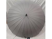 Зонт женский однотонный серый трость