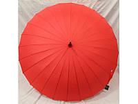 Зонт женский однотонный красный трость