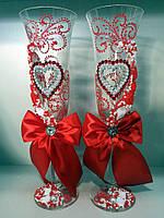 """Бокалы свадебные """"Сердца роспись""""  красные"""