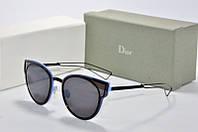 Солнцезащитные очки Dior черные в синий оправе