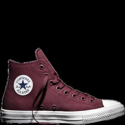Мужские кеды Converse All Star 2 High бордовые топ реплика, фото 2