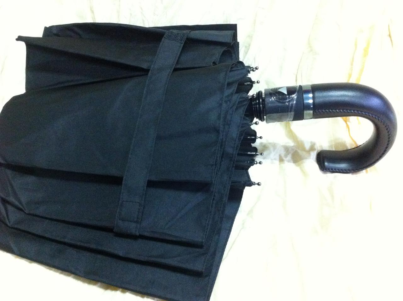 Мужской зонт автомат 9 спиц с кожаной ручкой крючком