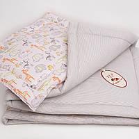 """Комплект стеганный   в кроватку для новорожденного """"Веселый зоопарк"""" Еlfdreams"""