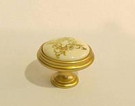Ручка кнопка  с керамической вставкой GU-P7709 матовое золото