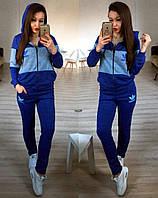 """Женский стильный костюм """"Adidas"""" синего цвета (+ большие размеры)"""