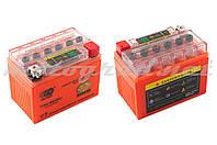 Аккумулятор 12V 4А гелевый OUTDO (114x71x88 мм, оранжевый, с индикатором заряда)