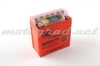 Аккумулятор 12V 5А гелевый (высокий) OUTDO (119x60x128 мм, оранжевый, с индикатором заряда, вольтметром)