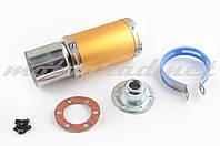 Глушитель (тюнинг) 170*100mm, креп. Ø78mm (нержавейка, короткий, золото, прямоток, mod:3)