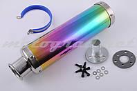 Глушитель (тюнинг)   300*90mm, креп. Ø48mm   (нержавейка, радуга, прямоток, mod:8)