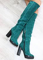 Стильные демисезонные замшевые сапоги ботфорты изумрудного цвета на каблуке