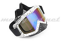 Очки маска лыжные KML (mod:WL-EC010, белые, стекло хамелеон)