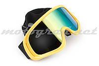 Очки маска кроссовые KML (mod:WL-EC006, зеленые, стекло хамелеон)