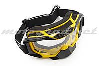Очки маска для сноубординга (mod:MJ-1015, желтые, прозрачное стекло)
