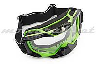 Очки маска лыжные (mod:MJ-1015, салатовые, прозрачное стекло)