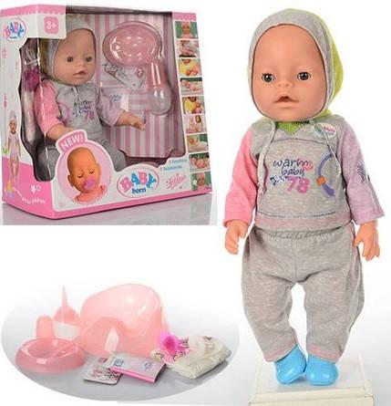 Кукла Пупс Baby Born (Беби Борн) BB 8009-445B. 42 см, 9 функций, 9 аксессуаров, фото 1