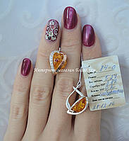 Серебряные серьги с накладками золота и янтарем