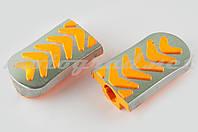 Резинки подножек водителя Delta (желтые с хромированной вставкой mod:3) XJB