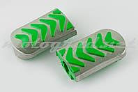 Резинки подножек водителя Delta (зеленые с хромированной вставкой mod:3) XJB