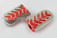 Резинки подножек водителя Delta (красные с хромированной вставкой mod:3) XJB