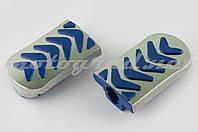 Резинки подножек водителя Delta (синие с хромированной вставкой mod:3) XJB