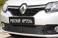 Защитная сетка решетки переднего бампера Renault Logan 2014+ Рено Логан