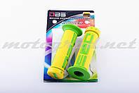 Ручки руля (грипсы) DBS (mod:1, желто-зеленые)