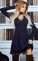 Ангоровое женское платье приталенного фасона с пышной юбкой и кружевной отделкой