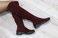 Осенние натуральные замшевые сапоги-ботфорты бордового цвета