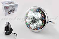 Фара светодиодная круглая (крепеж 180mm, многоцветная подсветка, пластик) Feili